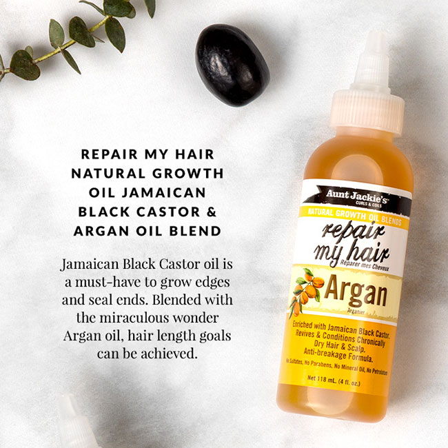 Aunt Jackie's Repair My Hair Natural Growth Oil Jamaican Black Castor & Argan Oil