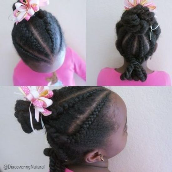 Cornrows 2 Ponytails 4a 4b 4c Updo Cornrows natural hair hairstyles for kids obia naturals sheamoisture cornrow protective styles