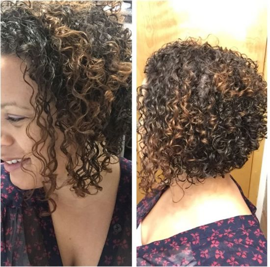 Curly hair - Angled Bob Haircut 3b Out & Loose Wash and Go short hair Brunette short natural hair 3B Hair