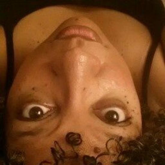 Upside down and curly.