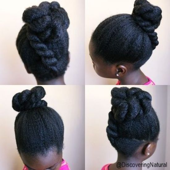 Chunky Twisted Bun with a Faux Flat Twist 4b 4c Out & Loose Twist natural hair 4c hair kids hairstyle bun twists updo