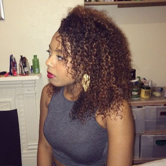 Blonde & Brown highlights 3c 4a Out & Loose Wash and Go curls Lovemycurls afro afrohair bighair lovefrizz frizz curlyhair kinkyhair