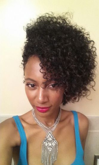 Side Pinup Updo 3b Out & Loose Wash and Go updo Wash and Go pin curls Curly Hair curly girl Natural Hair naturalista