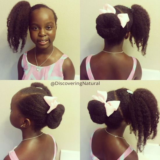 PonyTail Bangs and Ballerina Bun 4a 4b 4c Updo Top Knot bun natural hair 4c hair natural hair kids 4c kids hairstyle for kids kids hair