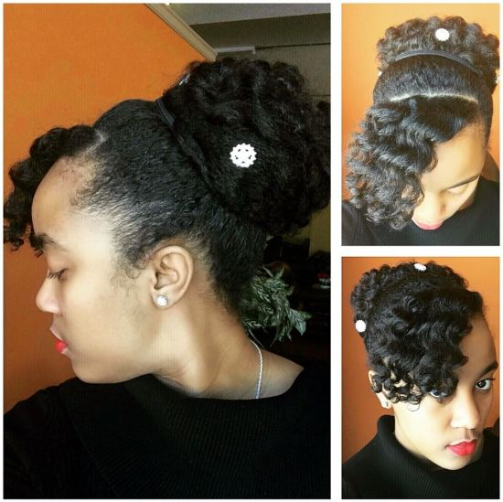 Perm rod curls updo 3c 4a 4b Updo Tuck and Pin Nknaturalz teamnatural blackhair care healthyhair updo