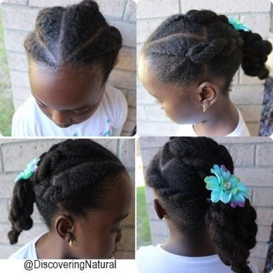 "Roll and Twist ""TenderHead"" Hairstyle 4a 4b Updo Chignon natural hair kids hairstyle natural hair kids"